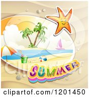 Clipart Of A Starfish Over A Beach And Summer Text Royalty Free Vector Illustration