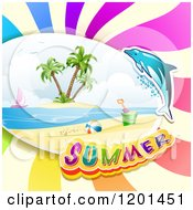 Clipart Of A Dolphin Leaping Over A Beach And Summer Text Royalty Free Vector Illustration by merlinul
