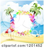 Clipart Of A Colorful Round Splash Frame Over A Beach Royalty Free Vector Illustration by merlinul