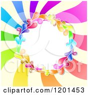Clipart Of A Colorful Round Splash Frame Over Spiraling Rays Royalty Free Vector Illustration by merlinul