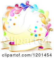 Clipart Of A Colorful Round Splash Frame With A Ribbon Banner Royalty Free Vector Illustration
