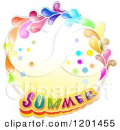 Clipart Of A Colorful Round Splash Frame With Summer Text Royalty Free Vector Illustration by merlinul