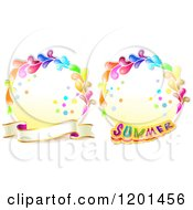Clipart Of Colorful Round Splash Frames With Summer Text And A Banner Royalty Free Vector Illustration by merlinul