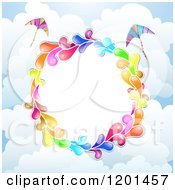Clipart Of A Colorful Round Splash Frame With Kites Over Clouds Royalty Free Vector Illustration by merlinul