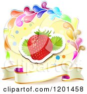 Clipart Of A Colorful Round Splash Frame With A Strawberry And Banner Royalty Free Vector Illustration by merlinul