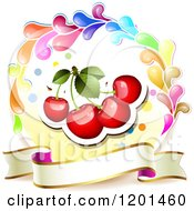 Clipart Of A Colorful Round Splash Frame With Cherries And Banner Royalty Free Vector Illustration by merlinul