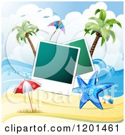 Clipart Of A Starfish Over A Beach With Instant Photos 3 Royalty Free Vector Illustration