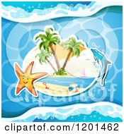 Clipart Of A Dolphin Leaping Over A Beach And Starfish 3 Royalty Free Vector Illustration by merlinul