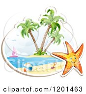 Clipart Of A Happy Starfish Over A Beach Scene On White Royalty Free Vector Illustration