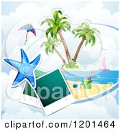 Clipart Of A Starfish Over A Beach With Instant Photos 2 Royalty Free Vector Illustration
