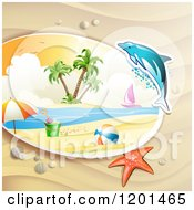 Clipart Of A Dolphin Leaping Over A Beach And Starfish Royalty Free Vector Illustration by merlinul