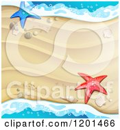 Clipart Of A Background Of Beach Sand And Surf With Shells And Starfish Royalty Free Vector Illustration