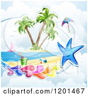 Clipart Of A Starfish With A Colorful Splash Over A Beach Royalty Free Vector Illustration by merlinul