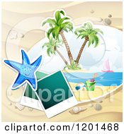 Clipart Of A Starfish Over A Beach With Instant Photos Royalty Free Vector Illustration