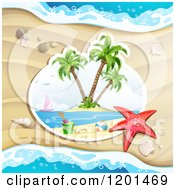 Clipart Of A Starfish Over A Beach Scene Against Sand Royalty Free Vector Illustration