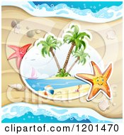Clipart Of A Happy Starfish Over A Beach Scene Royalty Free Vector Illustration
