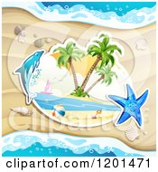 Clipart Of A Dolphin Leaping Over A Beach And Starfish 2 Royalty Free Vector Illustration by merlinul