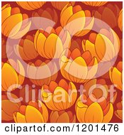Cartoon Of A Seamless Orange Tulip Flower Background Pattern Royalty Free Vector Clipart by visekart