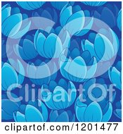 Cartoon Of A Seamless Blue Tulip Flower Background Pattern Royalty Free Vector Clipart by visekart