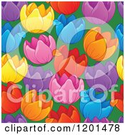 Cartoon Of A Seamless Colorful Tulip Flower Background Pattern Royalty Free Vector Clipart by visekart