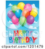 Cartoon Of A Bundle Of Colorful Party Balloons And Happy Birthday Text In The Sky Royalty Free Vector Clipart by visekart