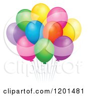 Cartoon Of A Bundle Of Colorful Birthday Party Balloons And Strings Royalty Free Vector Clipart by visekart