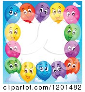 Cartoon Of A Border Of Happy Colorful Party Balloons And Sky Around White Space Royalty Free Vector Clipart
