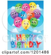 Cartoon Of A Bundle Of Smiling Colorful Party Balloons And Happy Birthday Text In The Sky Royalty Free Vector Clipart by visekart