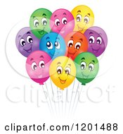 Cartoon Of A Bundle Of Colorful Happy Birthday Party Balloons And Strings Royalty Free Vector Clipart by visekart
