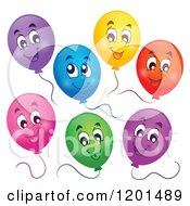 Cartoon Of A Group Of Floating Colorful Happy Birthday Party Balloons And Strings Royalty Free Vector Clipart
