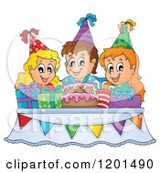 Cartoon Of Happy Children Around A Cake And Pesents At A Birthday Party Royalty Free Vector Clipart by visekart