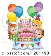 Cartoon Of Happy Children Around A Cake At A Birthday Party Royalty Free Vector Clipart by visekart