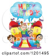 Cartoon Of Children Shouting Happy Birthday On A Bouncy House Castle At A Party Royalty Free Vector Clipart by visekart