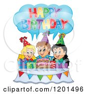 Cartoon Of Children Around A Cake Shouting Happy Birthday At A Party Royalty Free Vector Clipart by visekart