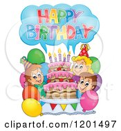 Cartoon Of Children Shouting Happy Birthday Around A Cake At A Party Royalty Free Vector Clipart by visekart
