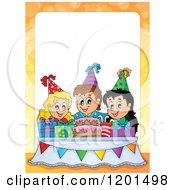 Cartoon Of Happy Talking Children Around A Cake At A Birthday Party Frame Royalty Free Vector Clipart