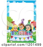 Cartoon Of Happy Talking Children Around A Cake At A Birthday Party Frame 2 Royalty Free Vector Clipart