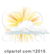 Sun Shining Behind A Cloud Clipart Illustration by AtStockIllustration #COLLC12015-0021