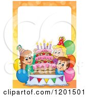 Cartoon Of A Border Of Happy Children Around A Cake At A Birthday Party 2 Royalty Free Vector Clipart