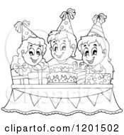 Cartoon Of Outlined Happy Children Around A Cake And Pesents At A Birthday Party Royalty Free Vector Clipart