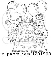Cartoon Of Happy Outlined Children With Balloons Around A Cake At A Birthday Party Royalty Free Vector Clipart