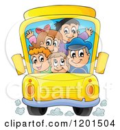 Cartoon Of A Crowded School Bus With A Driver And Children Royalty Free Vector Clipart