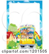 Cartoon Of A Back To School Bus On A Road With A Rainbow Under Copyspace Royalty Free Vector Clipart