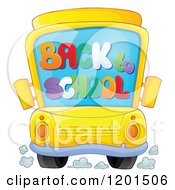 Cartoon Of A Bus With A Back To School Windshield Royalty Free Vector Clipart