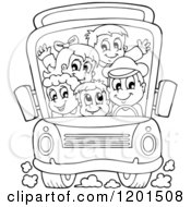 Cartoon Of A Crowded Outlined School Bus With A Driver And Children Royalty Free Vector Clipart