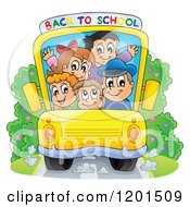 Cartoon Of A Crowded Bus With A Driver And Children And Back To School Banner Royalty Free Vector Clipart