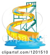 Cartoon Of A Wavy Water Park Slide Royalty Free Vector Clipart
