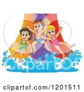 Cartoon Of Happy Children Going Down A Water Park Slide Royalty Free Vector Clipart