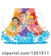 Happy Children Going Down A Water Park Slide
