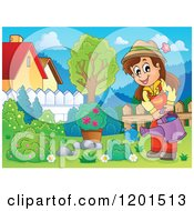 Cartoon Of A Happy Brunette Girl Watering A Bush In A Yard Royalty Free Vector Clipart by visekart